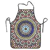 IUBBKI Delantal de Color marroquí Delantales Divertidos con Babero para Hombres y Mujeres Delantal de Cocina para Hornear