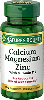 Calcium Magnesium & Zinc by Nature's Bounty, Immune Support and Supporting Bone Health, 100 Caplets