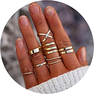 debc7ee6b FINETOO 8-14 PCS Midi Rings Knuckle Stacking Multi Size Comfort Fit Silver/ Gold