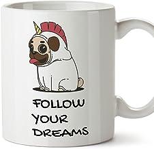 MUGFFINS Taza Unicornio (en inglés) - Follow Your Dreams - Regalo Original con Frases Divertidas para desayunos