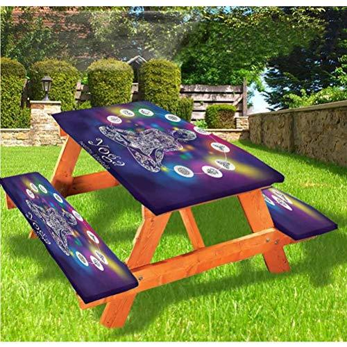 LEWIS FRANKLIN - Cortina de ducha de lujo para picnic, mantel de meditación, borde elástico con patas cruzadas, 60 x 172 pulgadas, juego de 3 piezas para mesa plegable