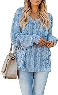 Yskkt Womens Pullover Sweaters Plus Size Cable Knit V Neck Lace Up Long Sleeve Fall Jumper Tops (XXXX-Large, ZBlue)