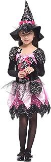 GIFT TOWER Déguisement Petite Sorcière Fée Fille Halloween Costume Cosplay Robe Tutu Enfant Baquette Magique (10-12 ans)