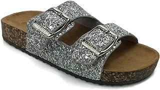 b11a4bc1f407b Annas Fashion Anna Women s Double Strap Cork Sole Slide Sandal Buckle
