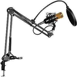 BM-800 Condenser Microphone Kit, BM-800 Mic Bundle with Adjustable Mic Suspension Scissor Arm, Metal Shock Mount and Doubl...