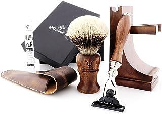 Jag Shaving Shaving Kit - Duurzame 3-delige scheerset - van hout - 3 randen scheerscheermes - Silvertip dassenscheerkwast...