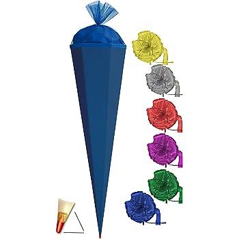 Schule Einschulung Schulanfang 1 itenga Produktset Schult/üte Zuckert/üte Rohling Bastelschult/üte rund 70 cm inkl Schuljahr Blau Spitzenschutz
