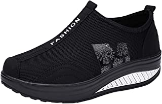 Womens Wedge Shoes, Summer Outdoors Breathable Slip On Walking Shoes Casual Comfortable High Heel Mesh Shoes US 35-40