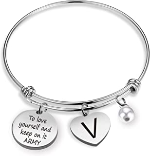 G-Ahora BTS Love Yourself Army Never Mind Charm Bracelet Inspirational Gift for Women Girl Sister Wife Daughter (BR BTS)