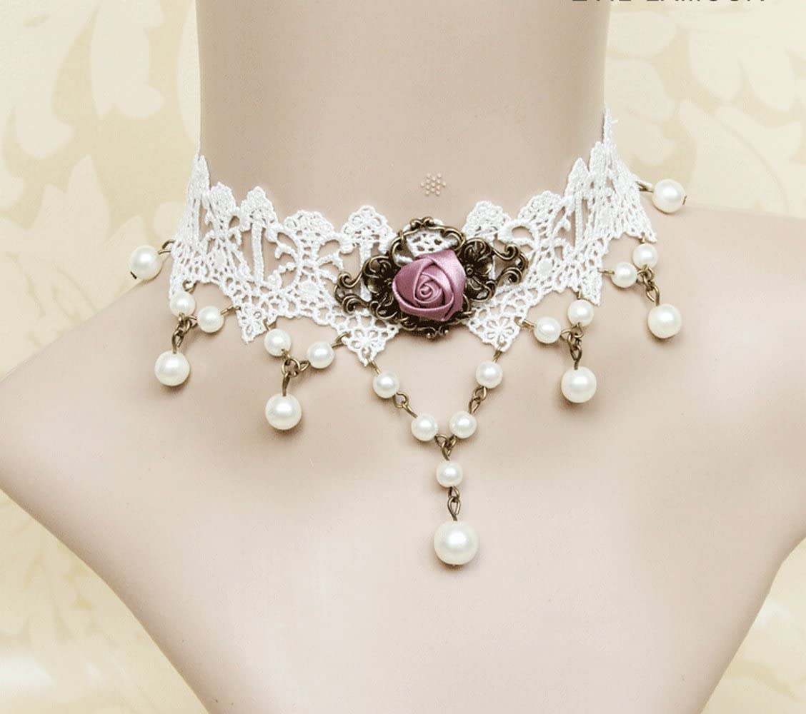 LEECO Elegant Sweet Pure Beautiful Bride Wedding Accessories Gothic Ribbon Wedding Dress Accessories White Lace Choker Necklace,White Lace Necklace with A Pink Rose Pendant