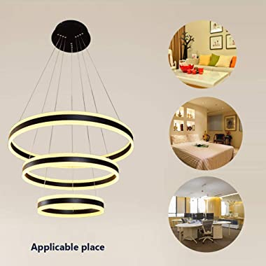 Stepless Dimming Chandelier, Led Matte Acrylic Aluminum Ring Chandelier with Remote Control, Suitable for Living Room Dining