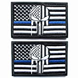 Bundle 2 Pieces - Punisher Skull American USA Flag Thin Blue Line Patch with Backing Black Decorative Embroidered Appliques