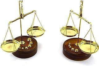 Zzaoxin Balanza electrónica Juego de 2 básculas Decorativas de latón con báscula de Base de Madera.