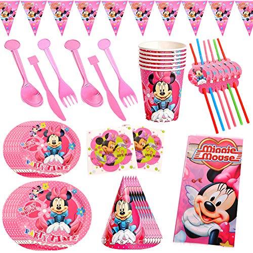 CYSJ 60PCS Set de Fiesta de cumpleaños de Minnie Disney Mickey Mouse Party Decoration Set Platos Tazas Servilletas Pack de Fiesta reciclable Mickey Mantel Sirve para 6 Invitados
