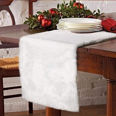 Faux Blanc Milou en Fourrure de Table Table Linge de Table en Peluche Tissu pour la Maison de Vacances D/écorations de No/ël Apofly No/ël Chemin de Table