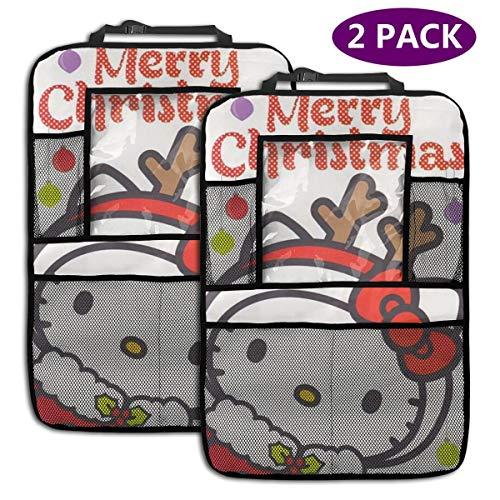 TBLHM Hello Kitty Lot de 2 Sacs de Rangement pour siège arrière de Voiture Merry Christmas avec Support pour Tablette