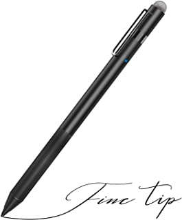 MEKO 1.6mm Fine Tip Active Digital Stylus Pen with Universal Fiber Tip 2-in-1 for Drawing and Handwriting Compatible with Apple Pen iPad iPhone and Andriod Touchscreen Cellphones, Tablets-Black