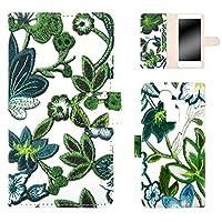 WHITENUTS ARROWS A 201F EM01F ケース 手帳型 フラワー刺繍プリント グリーン TC-D0214554/M