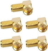 VCE 5-Pack Gold Plated Right Angle F-Type Coaxial RG6 Adapter