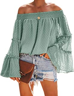 Womens Off The Shoulder Tops Long Bell Sleeve Flared Casual Loose Blouses Shirts