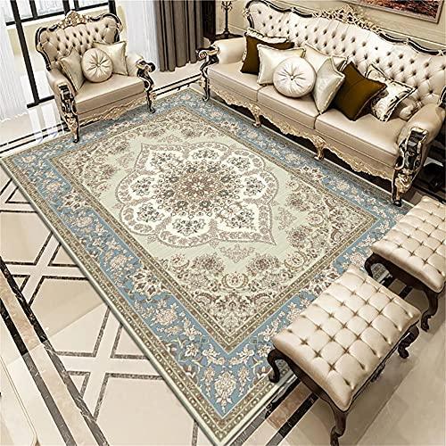 Sofas De Salon Grandes Alfombras Exterior Azul Claro patrón Floral Alfombra Sala de Estar decoración Retro Alfombra Suave 180X230cm
