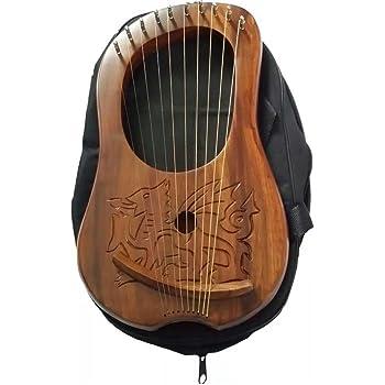 Lyre/harpe celtique gravée, motif dragon gallois en bois Sheesham.