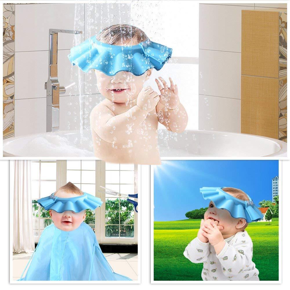 YaYa Safe Shampoo Shower Bathing Protection Bath Cap Soft Adjustable Visor Hat for Toddler, Baby, Kids, Children (Pink)