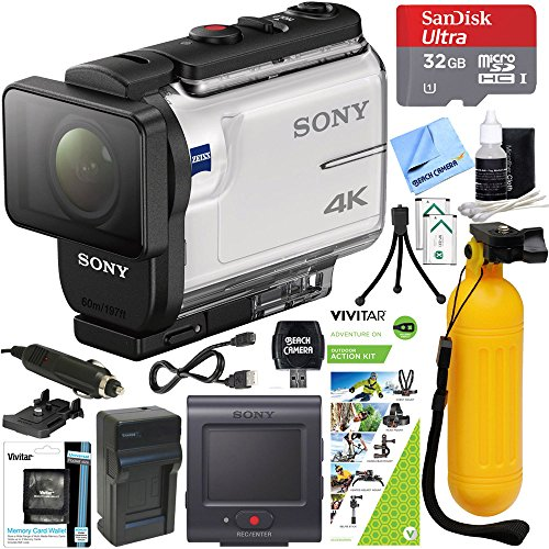 Sony FDR-X3000R 4K Wi-Fi GPS Action Camera with SteadyShot and Live View Remote Kit Bundle with 32GB Memory Card, Outdoor Action Kit, Bobber Handle and Accessories (8 Items)