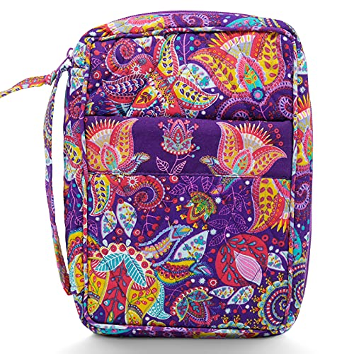 Bible Covers for Women, Quilted Bible Case Purple Floral Cotton Cloth with Handle and Pocket, Large 10x7x2.7 Inches