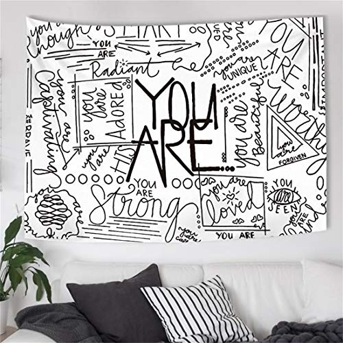 Jdttngp Quote You Are Wall Tapestry Wall Hanging 50x60 inch Letter Wall Art Positive Saying Wall Tapestry Inspirational Posters Tapestry Wall Art For Dorm Bedroom Living Room