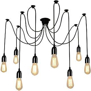 Glighone Lampop Suspension Luminaire Induistrielle Lampe Araignée 8 Bras Réglable Lampe Lustre Rétro Vintage Multi-Lumière...