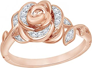 1/10 Ct White Diamond Rose Belle Ring in 9K Solid Gold