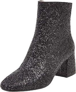 MISSUIT Femmes Chunky Talons Bottines Paillettes Bottines avec Talon Bloc et Fermeture éclair 6cm Talon Sequin Chaussures