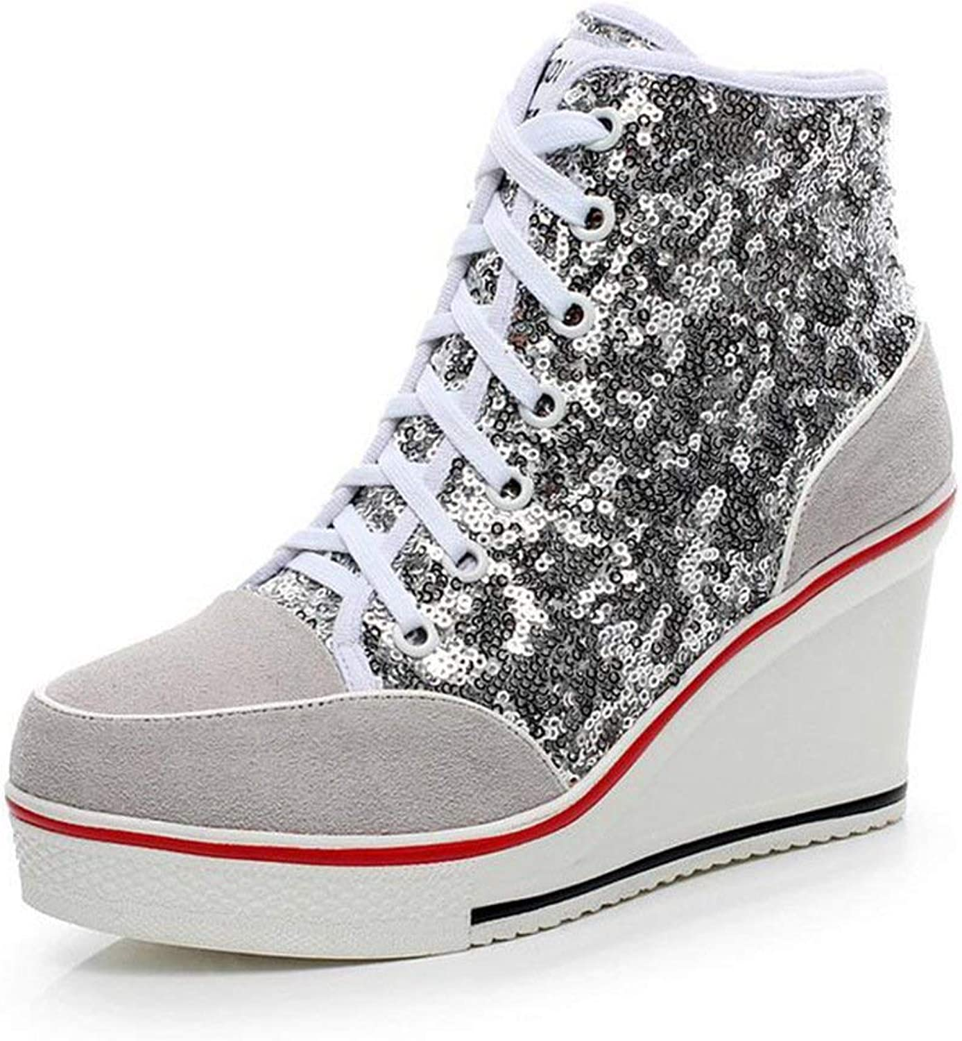 Boolee Women's Genuine Leather Wedge Platform Sneaker Paillette shoes