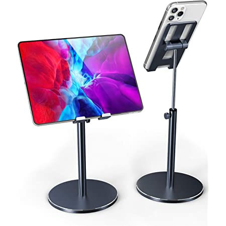 Fitfort Tablet Stand, Adjustable Tablet / Phone Holder of Aluminum Alloy Material, Case Friendly Stable Tablet Stand for iPad, iPad Air, iPad Pro 10.5, Samsung Tabs, and Phones Under 10.5-inch
