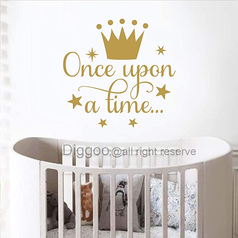 Diggoo Once Upon A Time Wall Decal Quote Princess Crown Wall Decal Princess Room Decor Girls Nursery Wall Art Sticker Gold 14 H X 14 5 W
