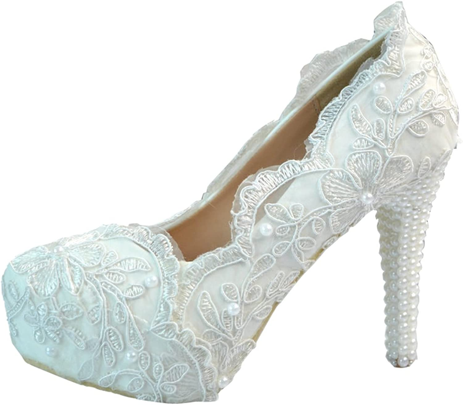 TDA Women's Elegant Flowers Lace Wedding Party Dress Stiletto Pumps