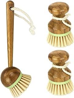 One set Dish Brush, 2 Mini Palm Scrub Brush + 1 Long Handle Brush Dish Scrubber, Bamboo Dish Washing Brush Classic Retro Style Natural Wood for Kitchen Bathroom Household Cleaning
