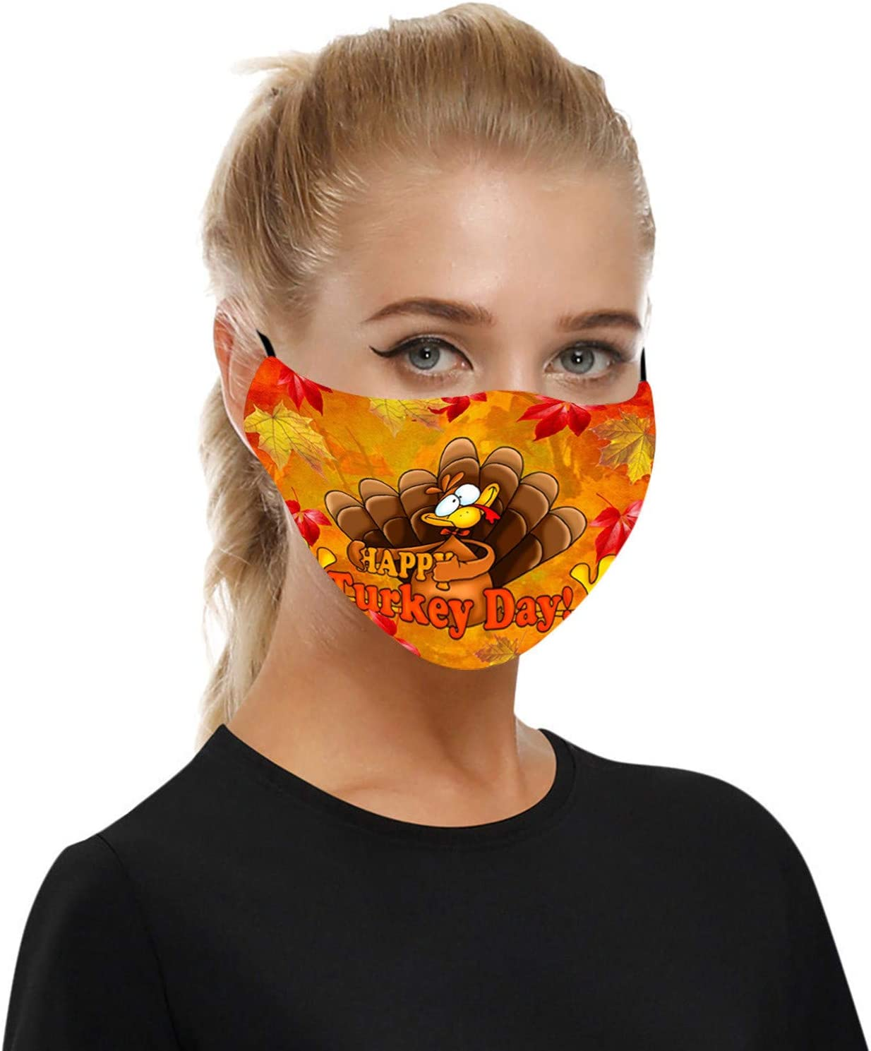 5PCS+10PCS 2021 Happy New Years Printed Adults Black Face_Mask Washable Reusable Men Women Adjustable Face Covering Breathable Soft Mouth Bandanas Skin Friendly