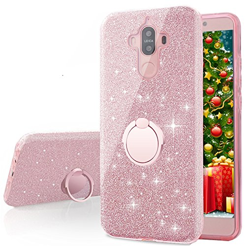 Huawei Mate 9 Case, Silverback Girls Bling Glitter Sparkle Cute Phone Case with 360 Rotating Ring Stand, Soft TPU Outer Cover + Hard PC Inner Shell Skin for Huawei Mate 9 -Rose Gold