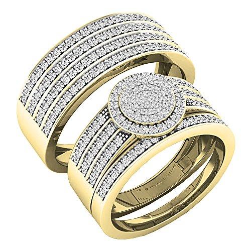 0,80Carat (quilate) 10K oro redondo blanco diamante hombres y mujeres del anillo de compromiso Trio Set 3/4CT