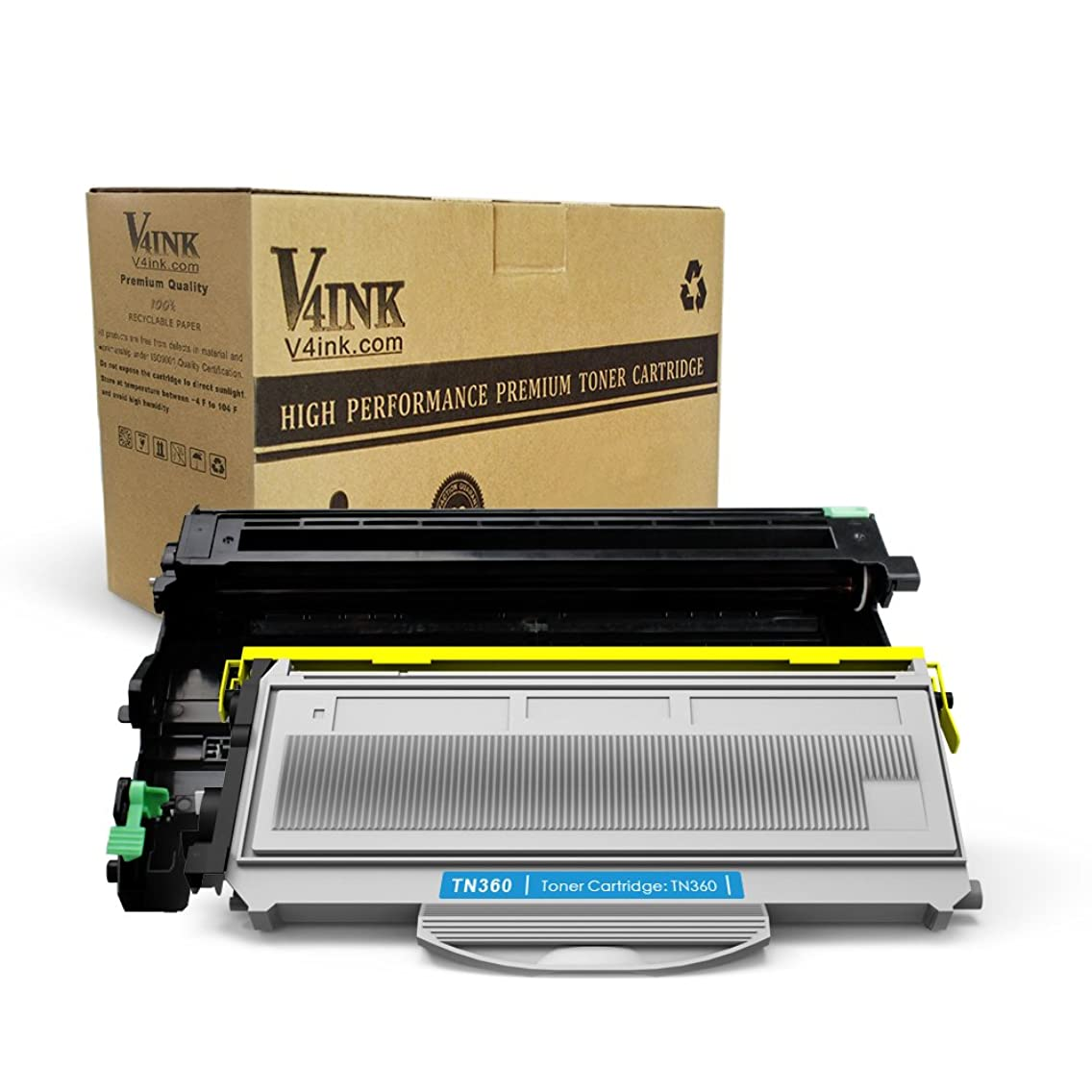 V4INK Compatible Toner Cartridge + Drum Replacement for Brother TN360 TN330 Toner + DR360 Drum Set for Brother HL-2140 HL 2150N 2170W Brother MFC-7340 MFC-7840W MFC 7440N 7345N DCP 7030-7040 Printer