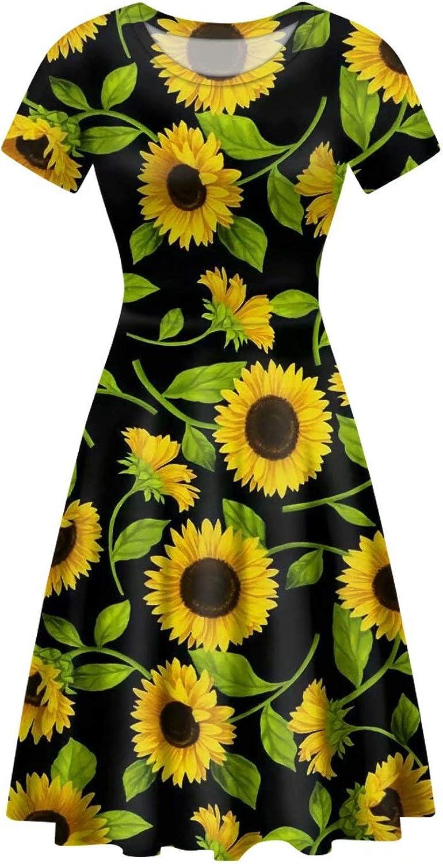 FOR U DESIGNS Sunflower Design Women's Casual Long Knee Length Dress Short Sleeve A-line Dresses Ladies