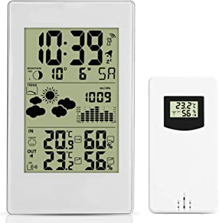 Wireless Weather Station, Radio Controlled Clock Indoor Outdoor Temperature Thermometer, Humidity, Barometric Pressure, Ic...