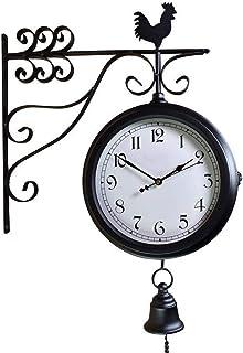 Wall Clock Non-Ticking Wall Clock الحديد المطاوع العتيقة جولة الجدار شنقا على الوجهين الرجعية ساعة جدار الجانب المنزل الدي...