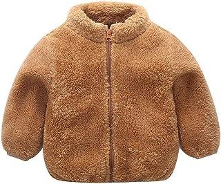 Weixinbuy Baby Boy's Girl's Solid Color Faux Fur Fleece Jacket Overcoat Zipper Up Winter Warm Plush Coat