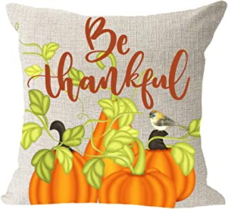 Be Thankful Blessing Gift Animal Birds Stand On The Pumpkins Cotton Linen Square Throw Waist Pillow Case Decorative Cushion Cover Pillowcase Sofa 18