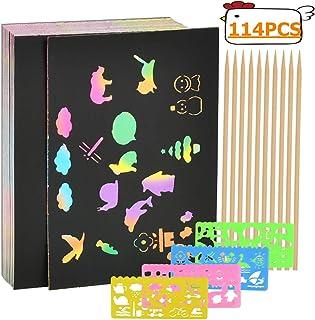 BUYGOO Scratch Art Paper 100 Feuilles de Dessin à gratter Feuilles à gratter créatives pour Enfants, Artisanat, listes d'é...