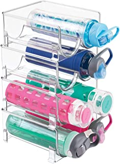 mDesign Plastic Freestanding Water Bottle Storage Organizer for Kitchen Countertop, Table, Pantry, Fridge - Holds Water Bottles, Pop/Soda, Wine, Beer - Stackable, 2 Bottles Each, 4 Pack - Clear
