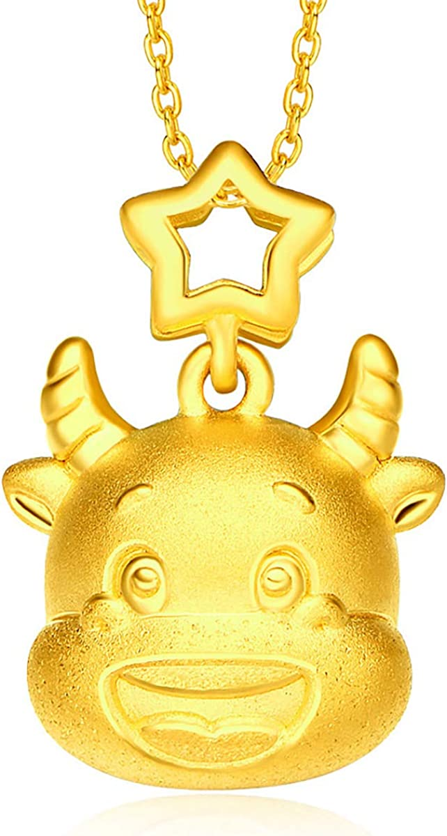 CHOW TAI FOOK Year of Ox 24K Gold Ox Lucky Star Pendant